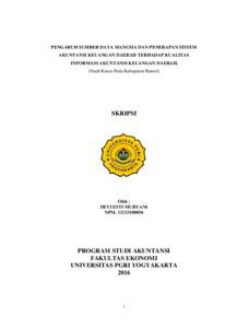 Pengaruh Sumber Daya Manusia Dan Penerapan Sistem Akuntansi Keuangan Daerah Terhadap Kualitas Informasi Akuntansi Keuangan Daerah Studi Kasus Pada Kabupaten Bantul Repository Universitas Pgri Yogyakarta