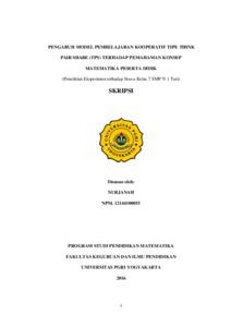 Pengaruh Model Pembelajaran Kooperatif Tipe Think Pair Share Tps Terhadap Pemahaman Konsep Matematika Peserta Didik Penelitian Eksperimen Terhadap Siswa Kelas 7 Smp N 1 Turi Repository Universitas Pgri Yogyakarta